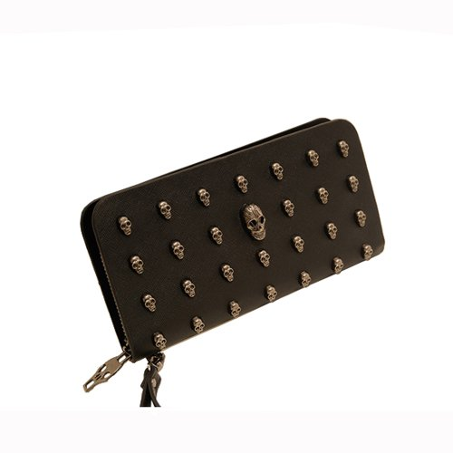 Ziyan Fashion Retro Women Skull Wallet Clutch Bag Wristlet Handbag Case for iphone 5 4s Galaxy Note 2 S3 i9300