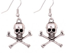 Yazilind Tibetan Silver Cool Tibetan Silver Skull Human Skeleton Ear Wire Hook Dangle Earrings