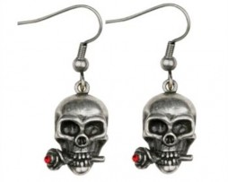 Skull W/ Rose Earrings - Collectible Dangle Jewelry Accessory Jewel