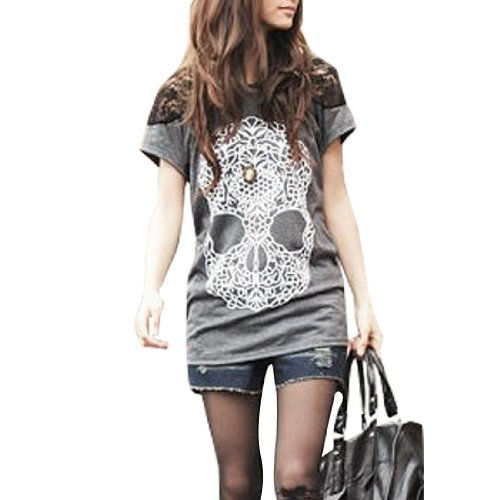 Cherry Woman Lace Patchwork Shoulders Skull Prints Front Shirt