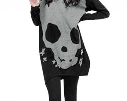 Allegra K Women's Long Sleeve Skull Printed Stretch Pullover Shirt