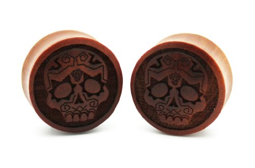 0g 8mm SAWO WOOD SUGAR SKULL DIA DE LOS MUERTOS mexican Double Flare Carved Ear Gauges Plugs Laser Cut Organic (Sold By Pair)