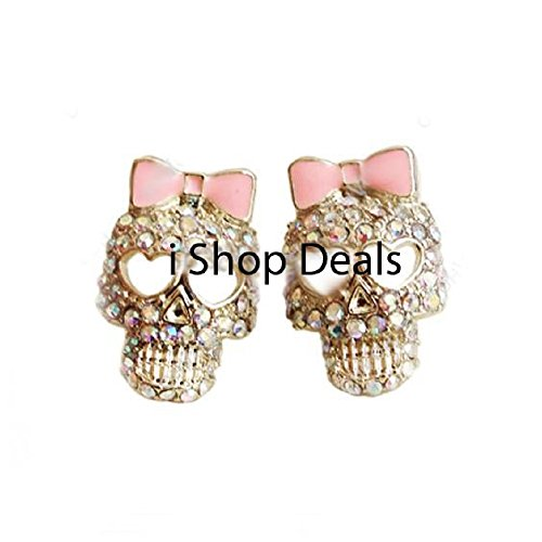 Rhinestone Crystal Skull Pink Bow Earrings