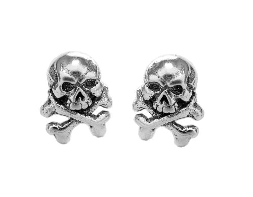.925 Sterling Silver Skull & Crossbones Cross Bones Post Stud Earrings Small