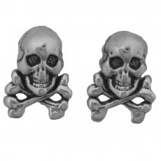 SCJ Sterling Silver Earrings Skull and Crossbones Posts Studs Tiny Mini