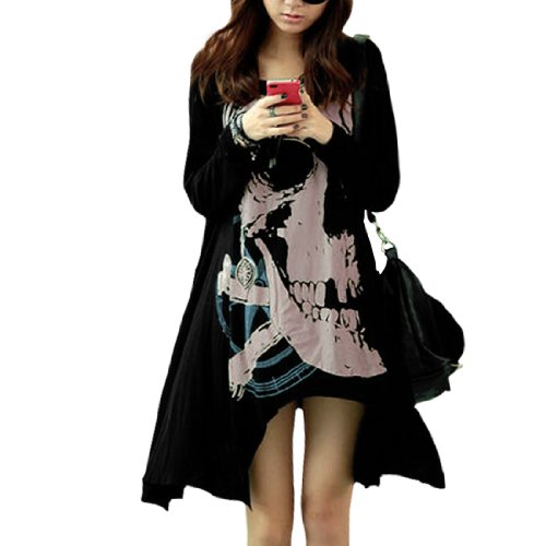 Allegra K Women's Round Neck Long-Sleeved Skull Pattern Loose Top
