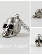 Gold Plated Sterling Silver Skull Necklace