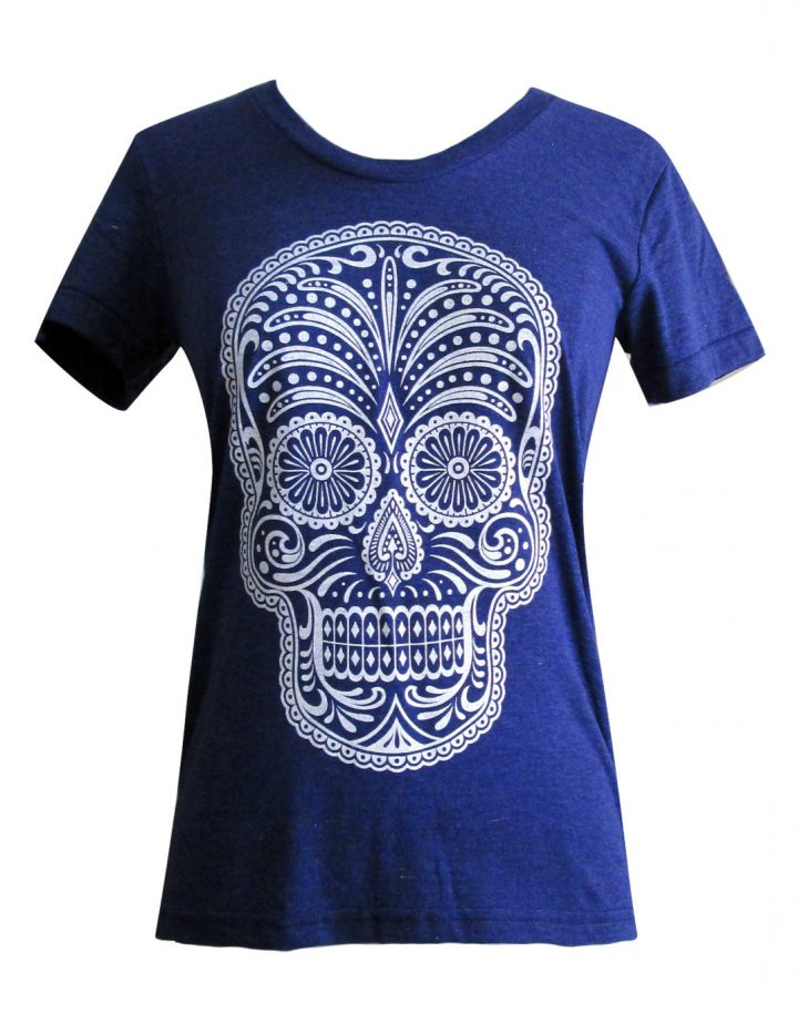 Day of the Dead T-Shirt - Calavera American Apparel ladies Tri-blend shirt