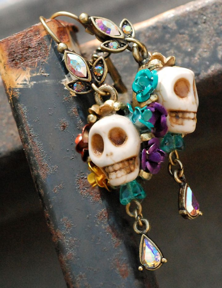 Day of the dead sugar skull earrings for Same day jewelry repair
