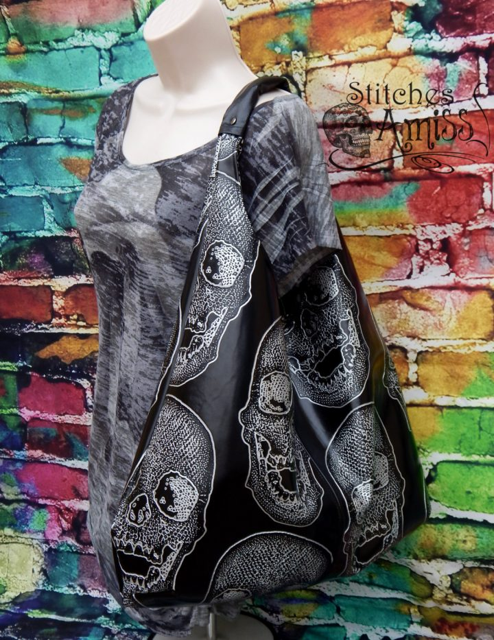 Skull purse, large skull bag, black vinyl skull purse, black silver skull purse