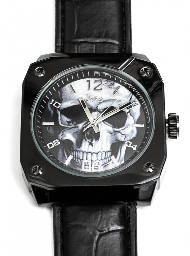 """Skull"" Embossed Leather Watch by Inked (Black)"