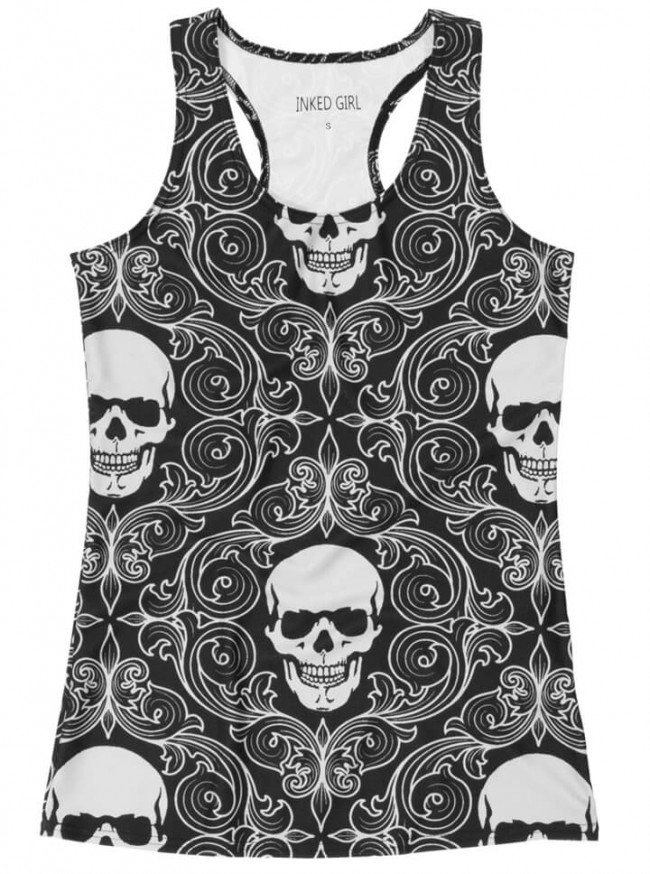 "Women's ""Tribal Skull"" Racerback Tank (Black)"