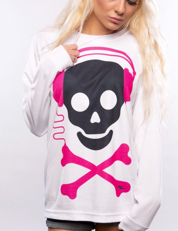 Audio Skull Long Sleeve Women's Top, Edm, Festival Clothing, Rave Wear, Rave Gear