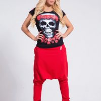 Black skull t-shirt / Black top / Extravagant cotton top / Black blouse / Skull top / Printed t-shirt / Roses / Black and red top