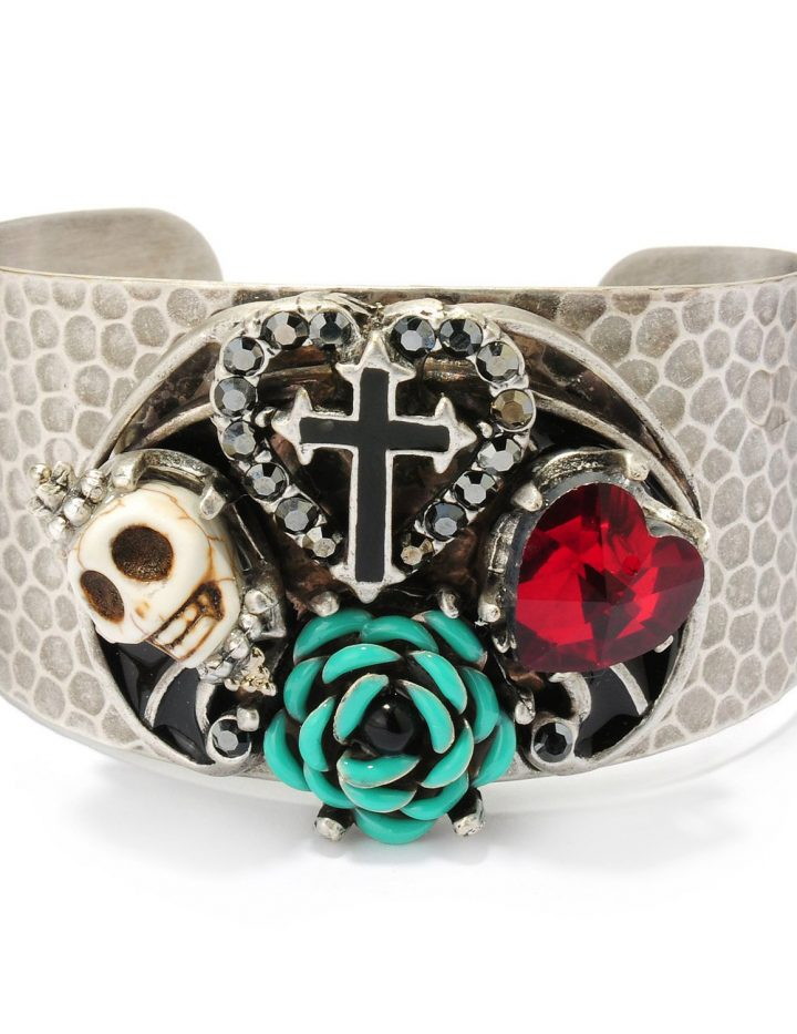 Cuff Bracelet, Skull Bracelet, Skull Jewelry, Sugar Skull Jewelry, Day of the Dead, Cuff, Day of the Dead Jewelry, Cross Bracelet BR107