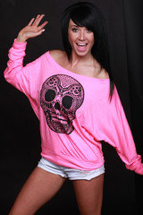 "Lightweight Off Shoulder, Pink or White, ""Electro Skull"" Women's Long sleeve Top, Festival Clothes, Cute Top, Shirt, Yoga Clothes, Edm, Rave"