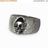 SALE 20% Off - Skull Ring for Men, Silver Skull Ring Women, Black Skull Ring, Skull Jewelry, Mens Biker Ring, Alternative Mens Wedding Band