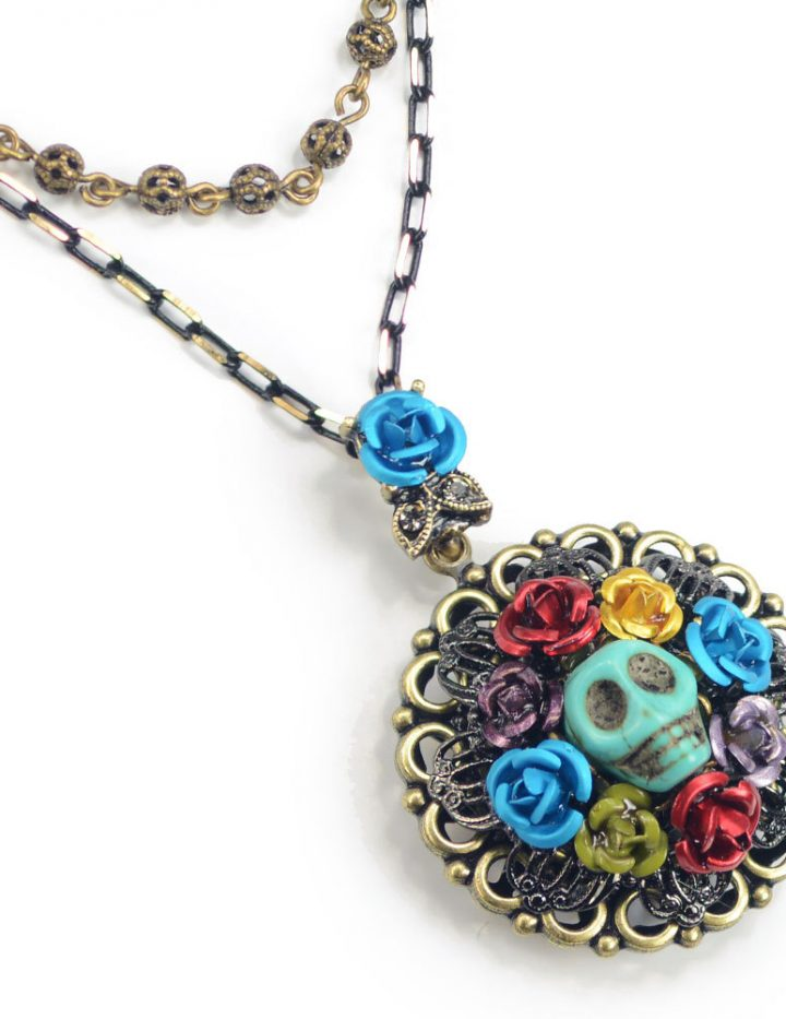 Skull Necklace, Skull Pendant, Sugar Skull Necklace, Day of the Dead, Day of the Dead Necklace, Day of the Dead Jewelry, Skull, Flowers N108