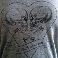 Til Death Do Us Part T-Shirt - Love Skulls -  Ladies SOFT American Apparel Shirt - Available in sizes S, M, L, XL