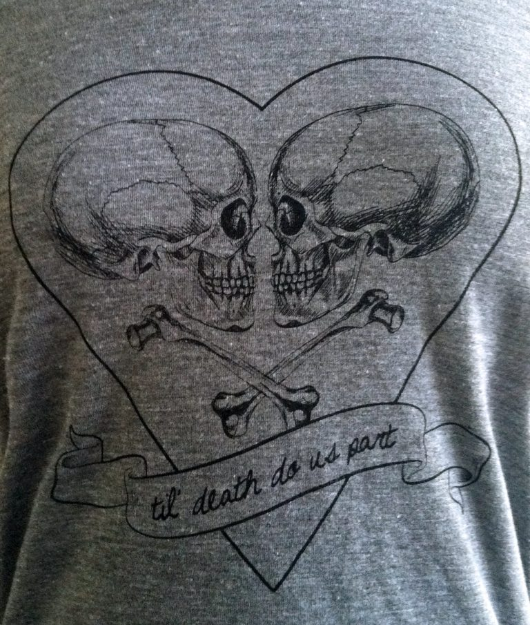 Womens Skull T shirt - Til Death Do Us Part -  Ladies SOFT American Apparel Shirt (Available in sizes S, M, L, XL)