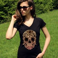 Skull Shirts Sugar Skull Shirt Skull Clothing Skeleton Shirts Floral Skull Tee Shirt V Neck Hipster Women Shirt