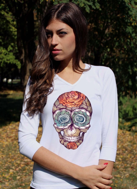 Skull Shirts Sugar Skull Shirt Skull Clothing Skull Clothing White Skeleton Shirt Floral Skull Tee Shirt V Neck Women 3/4 Sleeve Shirt