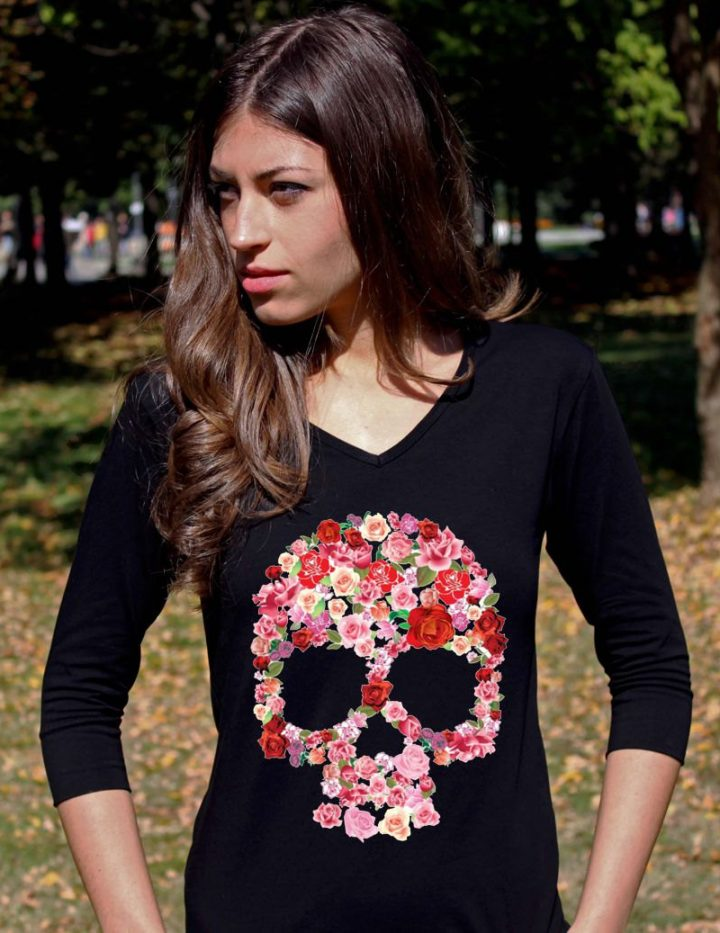 Sugar Skull Shirt Skull Shirts Skull Clothing Sugar Skull Clothing Skeleton Shirts Floral Skull Tee Shirt V Neck Women 3/4 Sleeve Shirt