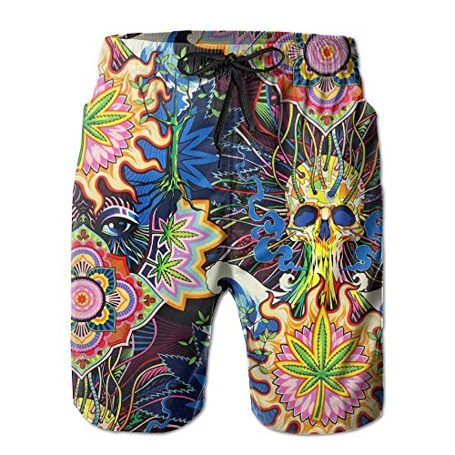 Snm Hill Mens Quick Dry Beach Shorts Psychedelic Pot Leaf
