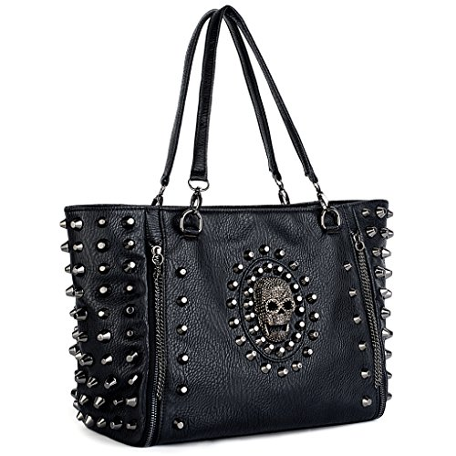 Uto Women Skull Tote Bag Pu Washed Leather Rivet Studded Las Purse Shoulder