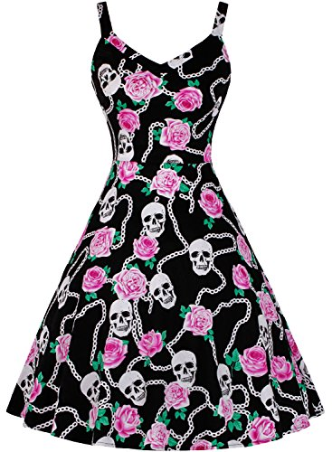 c58d9871ce0 Women s Floral Sugar Skull Sleeveless V-Neck Rockabilly Party Swing Dr